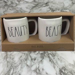 NWT Rae Dunn Beauty and the Beast Mug Set